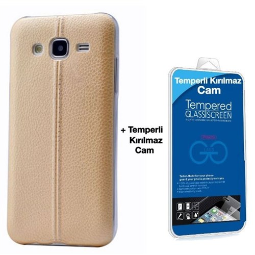 Teleplus Samsung Galaxy J7 Dikişli Silikon Kılıf Sarı + Kırılmaz Cam