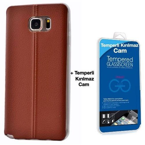 Teleplus Samsung Galaxy Note 5 Dikişli Silikon Kılıf Kırmızı + Kırılmaz Cam