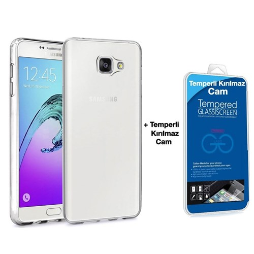 Teleplus Samsung Galaxy A5 2016 Silikon Kılıf Şeffaf + Temperli Kırılmaz Cam