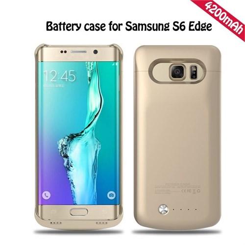 Teleplus Samsung Galaxy S6 Edge Şarjlı Kılıf 4200Mah Sarı
