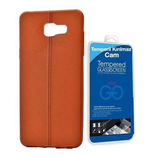 Teleplus Samsung Galaxy A5 Deri Görünümlü Silikon Kılıf Kahve + Temperli Kırılmaz Cam
