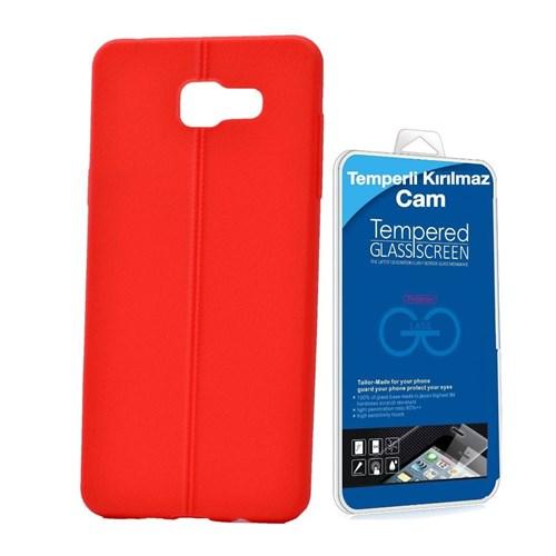Teleplus Samsung Galaxy A5 Deri Görünümlü Silikon Kılıf Kırmızı + Temperli Kırılmaz Cam