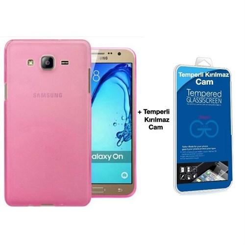 Teleplus Samsung Galaxy On7 Tam Korumalı Silikon Kılıf Pembe + Kırılmaz Cam