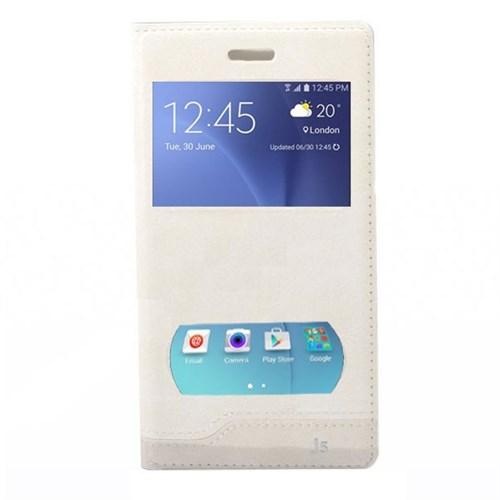 Teleplus Samsung Galaxy J5 Çift Pencereli Kılıf Beyaz