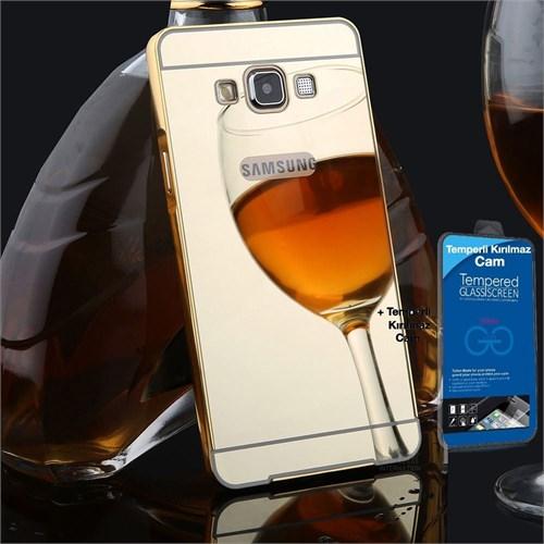 Teleplus Galaxy A5 2016 Kapak Aynalı Gold + Kırılmaz Cam