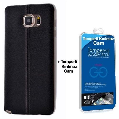 Teleplus Samsung Galaxy S6 Edge Plus Dikişli Silikon Kılıf Siyah + Kırılmaz Cam