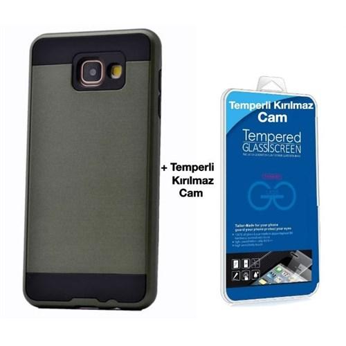 Teleplus Galaxy A3 2016 Çift Katmanlı Kapak Kılıf Yeşil + Kırılmaz Cam