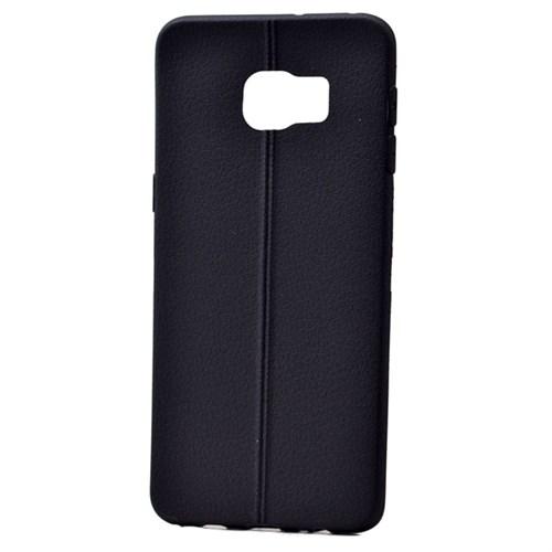 Teleplus Samsung Galaxy S6 Edge Plus Deri Görünümlü Silikon Kılıf Siyah
