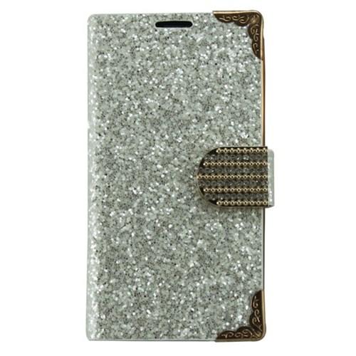 Teleplus Samsung Galaxy S4 Beyaz Taşlı Cüzdanlı Deri Kılıf