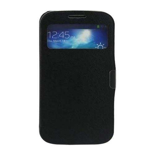 Teleplus Samsung Galaxy S4 Mıknatıslı Siyah Pencereli Flip Cover Kılıf