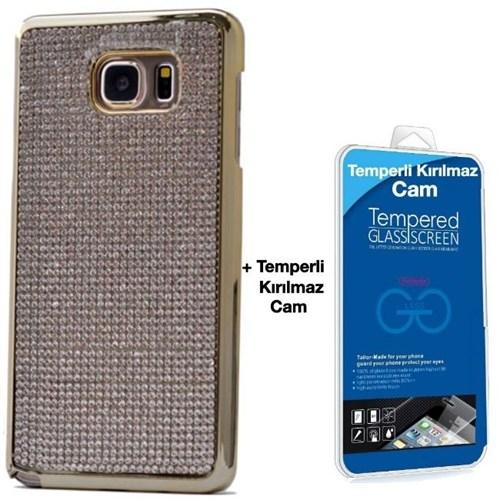 Teleplus Samsung Galaxy S6 Edge Taşlı Kapak Kılıf Gri + Kırılma Cam