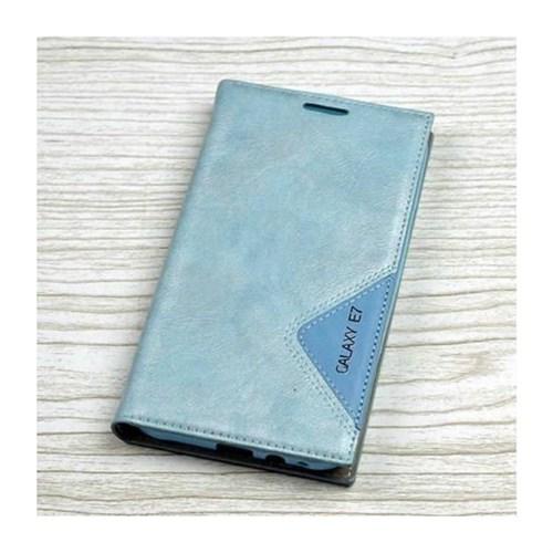 Teleplus Samsung Galaxy E7 Mıknatıslı Özel Yapım Kılıf Mavi