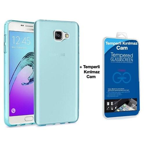 Teleplus Samsung Galaxy A3 2016 Silikon Kılıf Mavi + Temperli Kırılmaz Cam