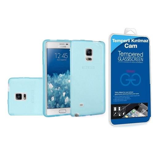 Teleplus Samsung Galaxy Note Edge Silikon Kılıf Mavi + Temperli Kırılmaz Cam