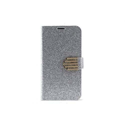 Teleplus Samsung Galaxy Note 3 Simli Taşlı Cüzdanlı Kılıf Gümüş Renk