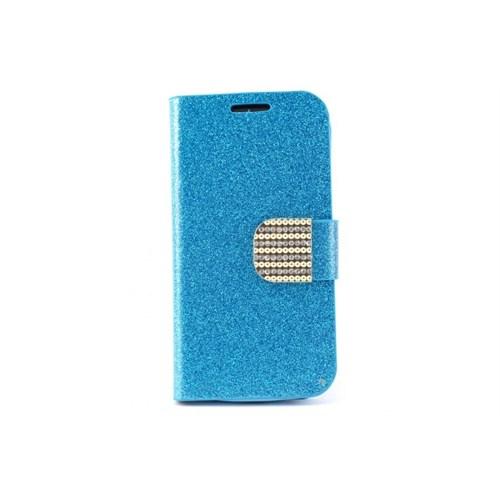 Teleplus Samsung Galaxy S4 Mini Taşlı Cüzdanlı Deri Kılıf Mavi Renk