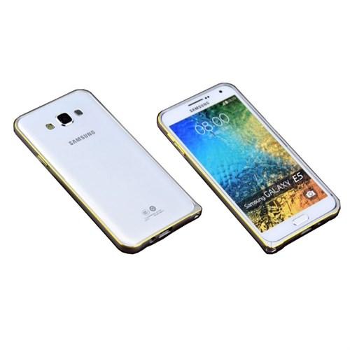 Teleplus Samsung Galaxy E5 Metal Çerçeveli Kılıf Silver