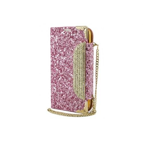Teleplus Samsung Galaxy S4 Zincirli Taşlı Kılıf Pink