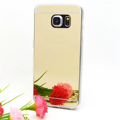 CoverZone Samsung Galaxy S7 Kılıf Aynalı Silikon Altın