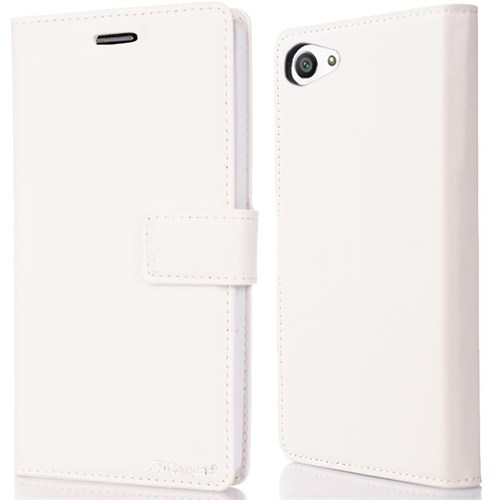 CoverZone Sony Xperia Z5 Compact Kılıf Kapaklı Flip Trend Deri Mıknatıslı Beyaz