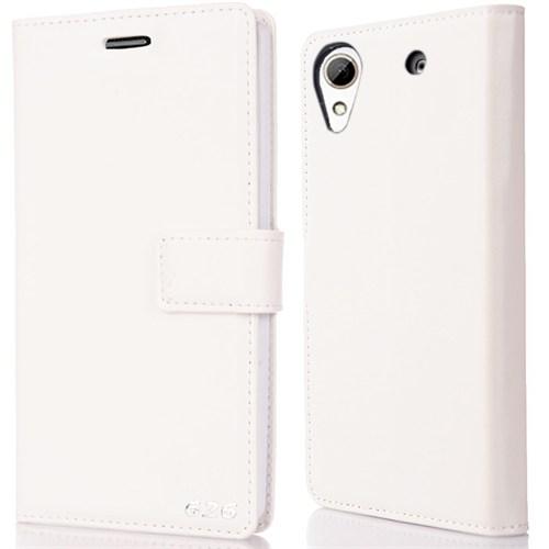 CoverZone Htc Desire 626 Kılıf Kapaklı Flip Trend Deri Mıknatıslı Beyaz
