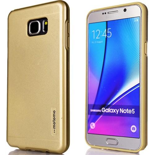 CoverZone Samsung Galaxy Note 5 Kılıf Motomo New Hard Cover Altın