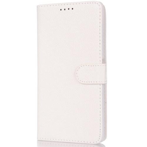 CoverZone Microsoft Lumia 535 Kılıf Flip Deri Kapaklı Beyaz