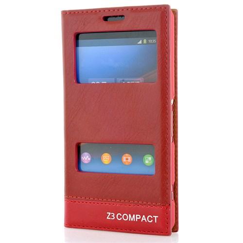 Cover Me Sony Xperia Z3 Compact Kılıf Pencereli Kapaklı Milano Kırmızı