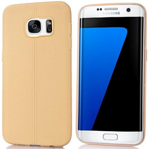 Cover Me Samsung Galaxy S7 Edge Kılıf Deri Görünümlü Silikon Altın