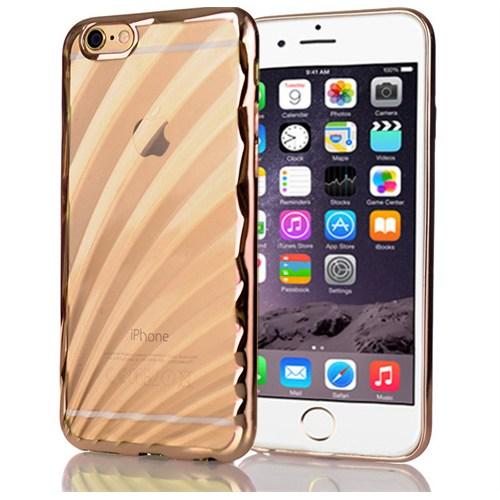 Cover Me İphone 6 Plus 6S Plus Kılıf Silikon Balıksırtı Metalize Kenar Altın