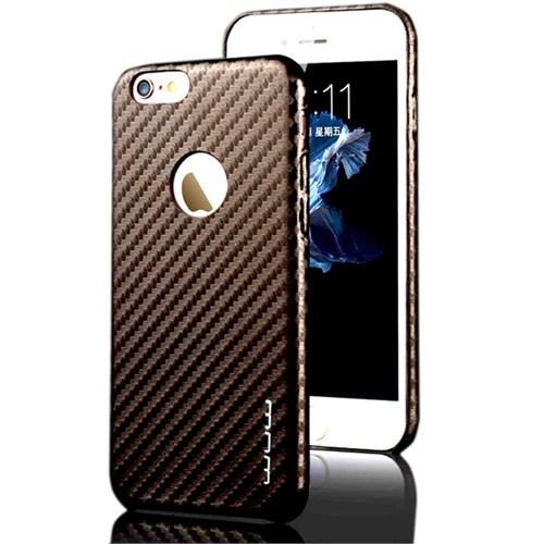 Cover Me İphone 6 6S Kılıf Karbon Kapak Kahverengi
