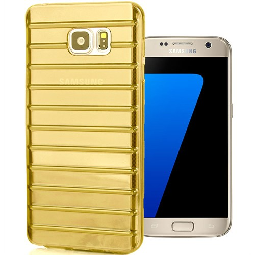 CoverZone Samsung Galaxy A7 Kılıf 2016 A710 Çizgili Silikon Gold