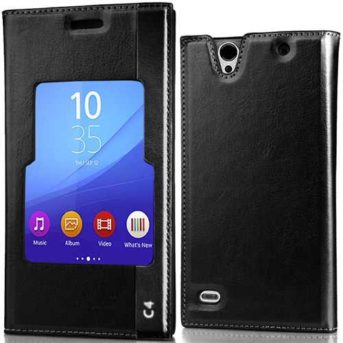 CoverZone Sony Xperia C4 Kılıf Large Pencereli Flip Magnum Deri Siyah