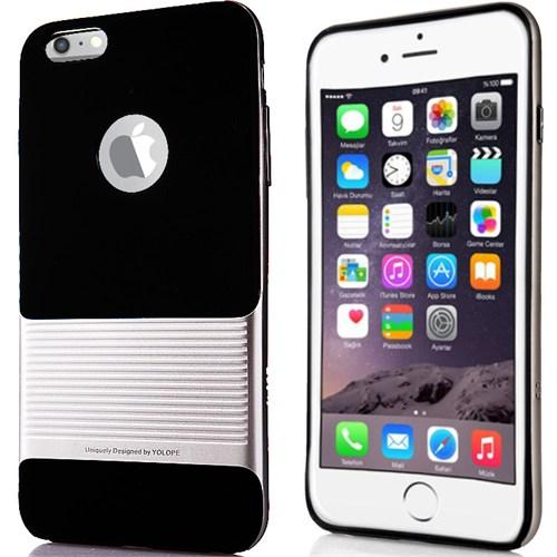 CoverZone İphone 6 Plus 6S Plus Kılıf Yolope Edge Silikon Case Gümüş