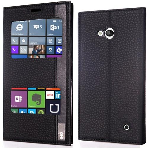 CoverZone Microsoft Lumia 640 Kılıf Flip Çift Pencereli Deri Siyah