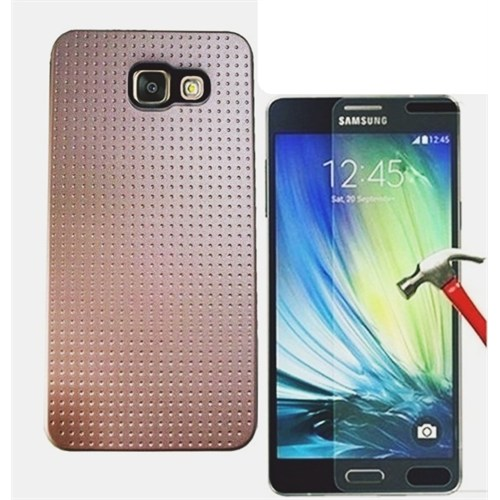 Kılıfshop Samsung Galaxy A5 2016 Silikon Kılıf (Gold) + Kırılmaz Cam Ekran Koruyucu