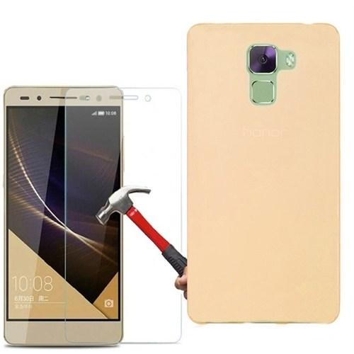 Kılıfshop Huawei Honor 7 Silikon Kılıf (Gold) + Kırılmaz Cam Ekran Koruyucu