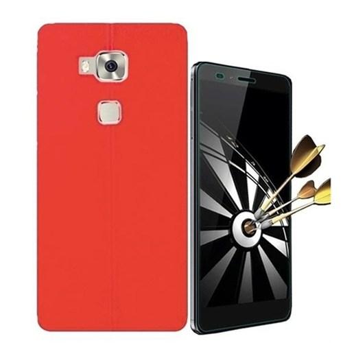 Kılıfshop Huawei Gr5 Dikiş Desenli Silikon Kılıf (Kırmızı) + Kırılmaz Cam Ekran Koruyucu