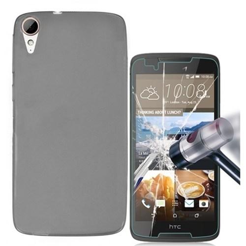 Kılıfshop Htc Desire 828 Silikon Kılıf (Füme) + Kırılmaz Cam Ekran Koruyucu