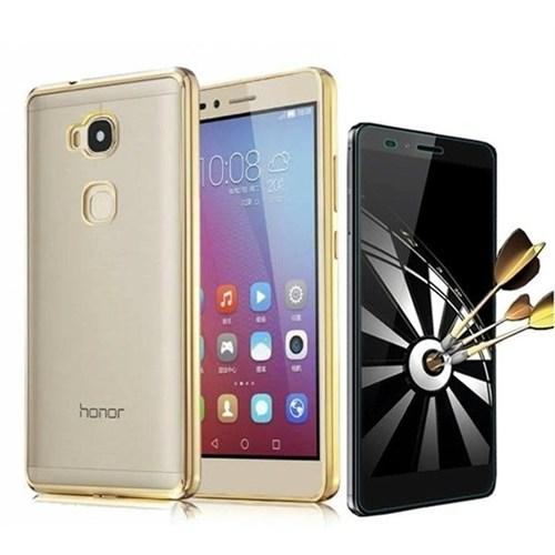 Kılıfshop Huawei Gr5 Lazer Silikon Kılıf (Gold) + Kırılmaz Cam Ekran Koruyucu