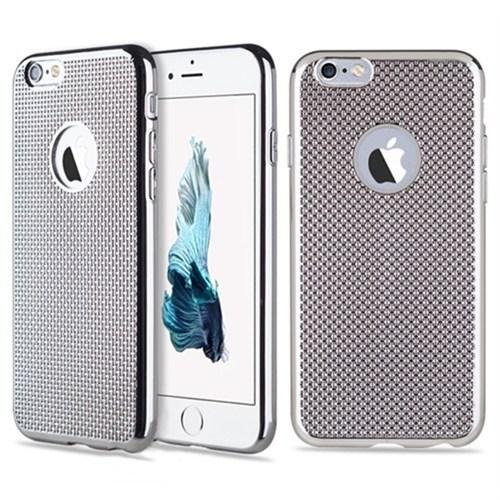 Kılıfshop İphone 6 Hasır Desenli Silikon Kılıf (Gümüş)