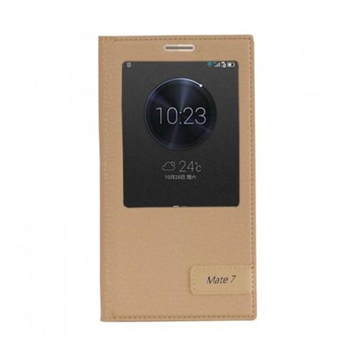 Lopard Huawei Mate 7 Kılıf Kapaklı Pencereli Ellite Case Deri Gold