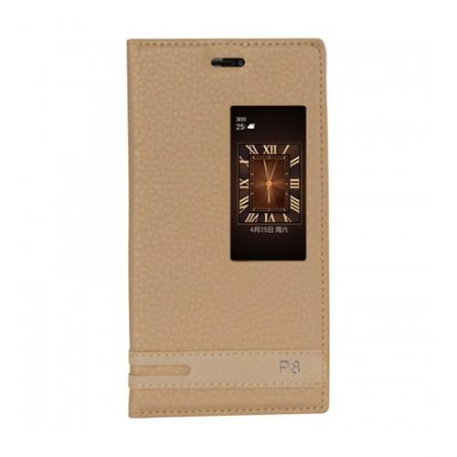 Lopard Huawei P8 Kılıf Kapaklı Pencereli Ellite Case Deri Gold