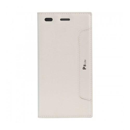 Lopard Huawei P8 Lite Kılıf Kapaklı Sapphire Case Deri Beyaz