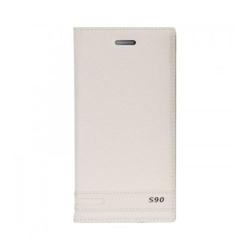 Lopard Lenovo S90 Kılıf Kapaklı Sapphire Case Deri Beyaz