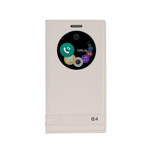 Lopard Lg G4 Kılıf Kapaklı Pencereli Ellite Case Deri Beyaz