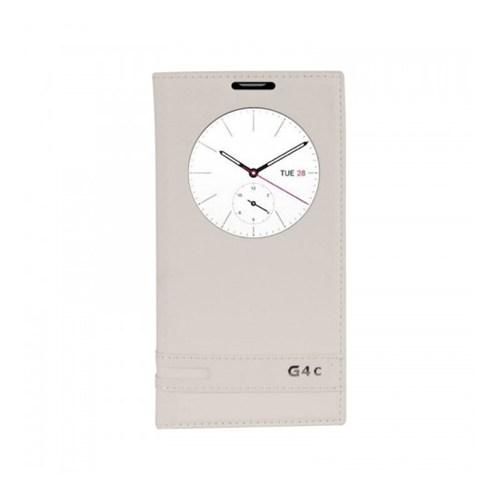 Lopard Lg G4c (Mini) Kılıf Kapaklı Pencereli Ellite Case Deri Beyaz