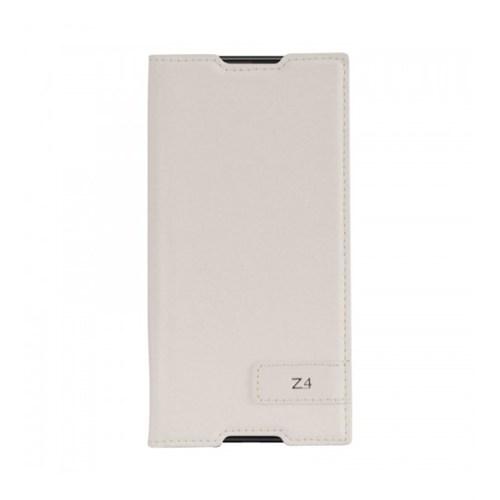 Lopard Sony Xperia Z4 Kılıf Kapaklı Sapphire Case Deri Beyaz