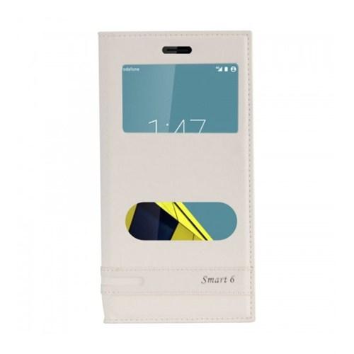 Lopard Vodafone Smart 6 Ultra Kılıf Kapaklı Pencereli Ellite Case Deri Beyaz