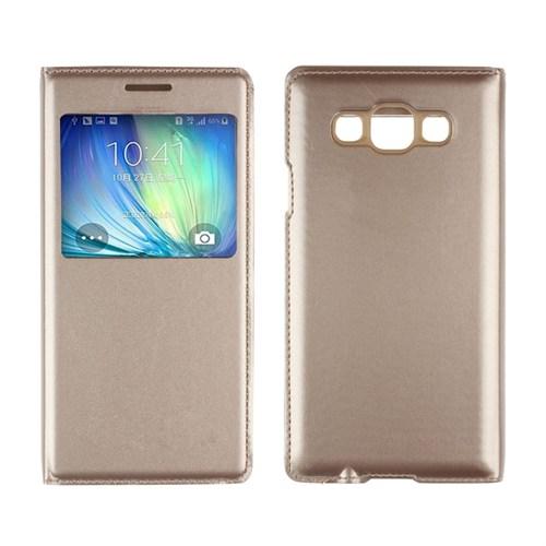 Markaawm Samsung Galaxy E5 Kılıf Flip Cover Deri Dikişli
